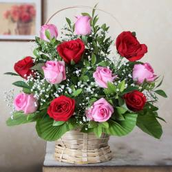 Twelve Red and Pink in a Basket