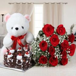 Twelve Red Roses and Black Forest Cake with Teddy