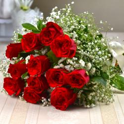 Twelve Red Roses Hand Bunch for your Valentine