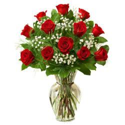 Twelve Red Roses In Glass Vase