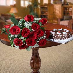 Twelve Red Roses with Black Forest Cake
