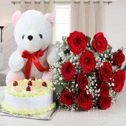 Twelve Red Roses with Pineapple Cake and Cute Teddy Bear
