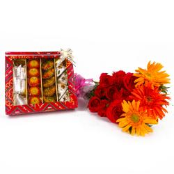 Twelve Seasonal Flowers Bouquet and Assorted Sweets Combo