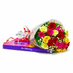 Twenty Assorted Rose Bouquet with Cadbury Celebration Chocolate Box