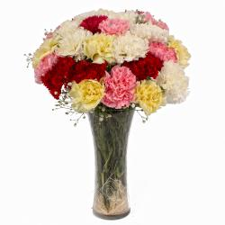 Twenty Colorful Carnations in Glass Vase