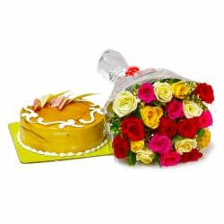 Twenty Colorful Roses Bunch with Butterscotch Cake