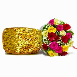 Twenty Colorful Roses with Mix Dry Fruit in a Basket
