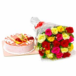 Twenty Colorful Roses with Strawberry Cake