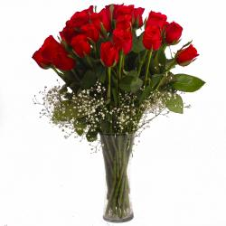 Twenty Five Fresh Red Roses in Vase