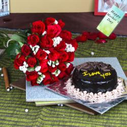 Twenty Five Red Roses Bouquet with Chocolate Cake For Mom