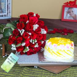 Twenty Five Red Roses Bouquet with Pineapple Cake