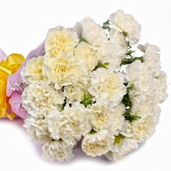 Twenty Five White Carnations Designer Bouquet