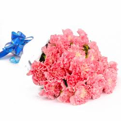 Twenty Four Soft Pink Carnations Tissue Wrapped