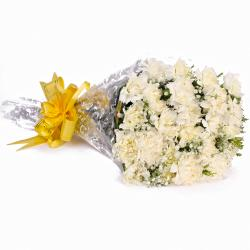 Twenty Four White Carnations Hand Tied Bouquet