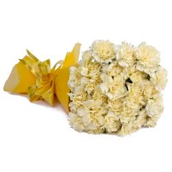 Twenty Four Yellow Carnations with Tissue Packing