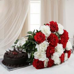Twenty Mix Carnations with Eggless Chocolate Cake