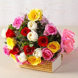 Twenty Mix Colour Roses Hand Tied Bouquet
