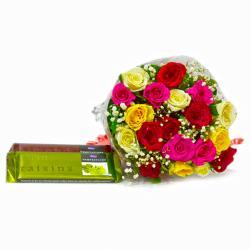 Twenty Mix Roses Boquet with Cadbury Temptation Chocolate Bars