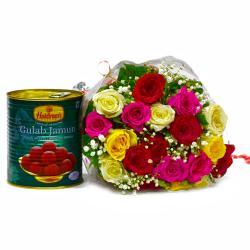 Twenty Mix Roses with Yummy Gulab Jamuns