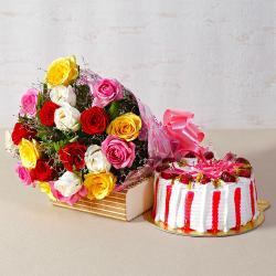Twenty Multi Roses Bunch with Fresh Cream Strawberry Cake