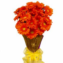 Twenty Orange Gerberas Hand Bouquet
