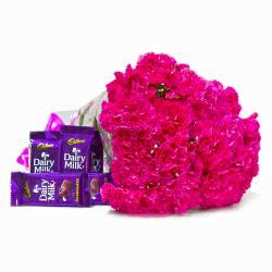 Twenty Pink Carnations Bouquet with Cadbury Dairy Milk Chocolates
