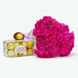 Twenty Pink Carnations with Ferrero Rocher Imported Chocolate Box