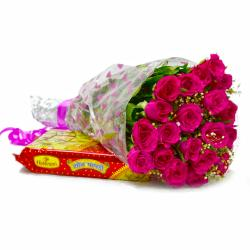 Twenty Pink Roses Bouquet with 500 Gms Soan Papdi