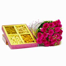 Twenty Pink Roses Bouquet with Mix Dry fruits Box