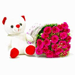Twenty Pink Roses Bouquet with Teddy Bear