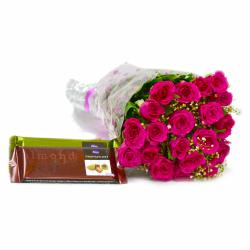 Twenty Pink Roses Bunch with Cadbury Temptation Chocolate Bars