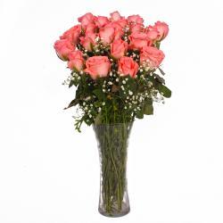 Twenty Pink Roses in Glass Vase