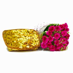 Twenty Pink Roses with 2 Kg Assorted Dry Fruit in a Basket