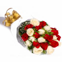 Twenty Red and White Roses Bouquet