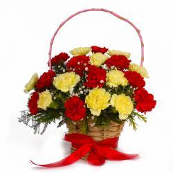 Twenty Red and Yellow Carnations Basket Arrangement