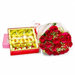 Twenty Red Roses Bouquet with 500 Gms Assorted Sweet Box