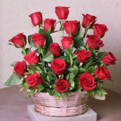 Twenty Red Roses in a Basket