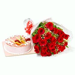 Twenty Red Roses with Strawberry Cake