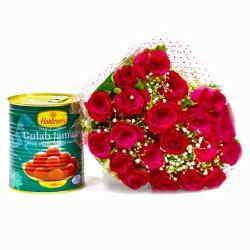 Twenty Romantic Red Roses with Tempting Gulab Jamuns