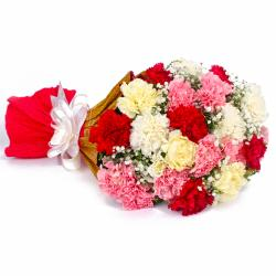 Twenty Two Multi Color Carnations Tissue Packing