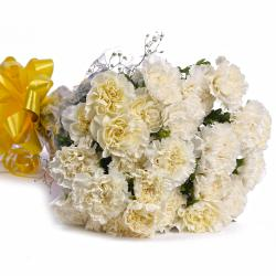 Twenty Two White Carnations Bouquet