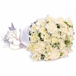 Twenty White Carnations with Tissue Wrapping