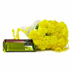 Twenty Yellow Carnation Boquet with Cadbury Temptation Chocolate Bars