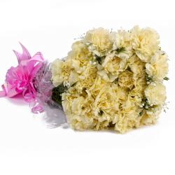 Twenty Yellow Carnations in Cellophane Wrapped