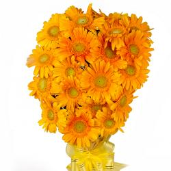 Twenty Yellow Gerberas Bouquet with Tissue Packing