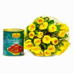 Twenty Yellow Roses Bouquet with 1 Kg Gulab Jamuns