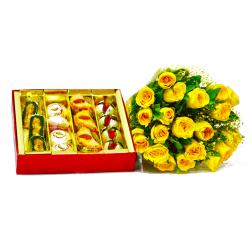 Twenty Yellow Roses with Assorted Indian Mithai