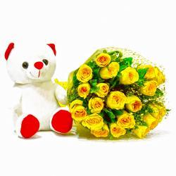 Twenty Yellow Roses with Cute Teddy Bear