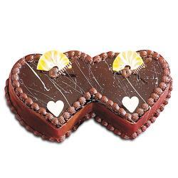 Twin Heart Shaped Chocolate Cake