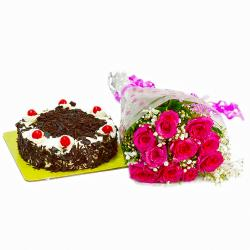 Twinkling Ten Pink Roses with Black Forest Cake